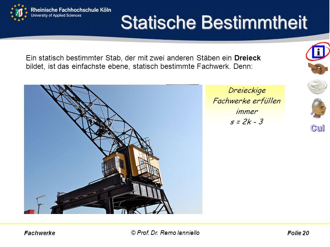 Statische Bestimmtheit Fachwerke © Prof. Dr. Remo Ianniello Folie 20 Ein statisch bestimmter Stab, der mit zwei anderen Stäben ein Dreieck bildet, ist