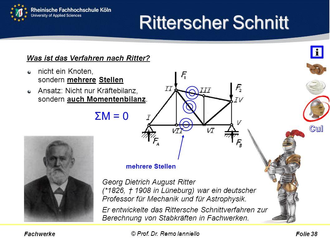 Ritterscher Schnitt nicht ein Knoten, sondern mehrere Stellen Ansatz: Nicht nur Kräftebilanz, sondern auch Momentenbilanz. Fachwerke © Prof. Dr. Remo