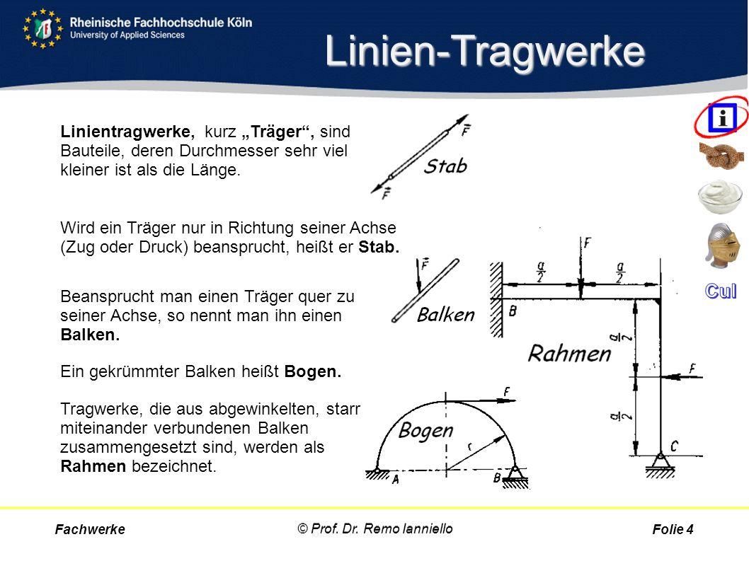 """Linien-Tragwerke Linientragwerke, kurz """"Träger"""", sind Bauteile, deren Durchmesser sehr viel kleiner ist als die Länge. Fachwerke © Prof. Dr. Remo Iann"""