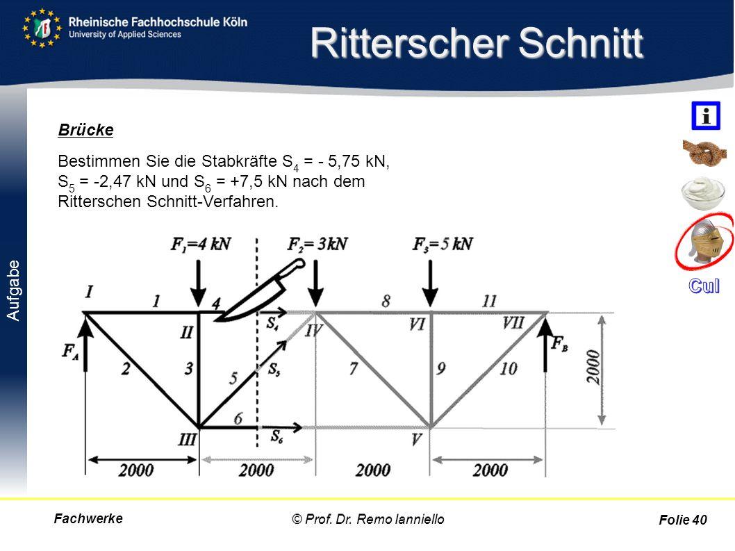 Aufgabe Ritterscher Schnitt Fachwerke© Prof. Dr. Remo Ianniello Folie 40 Bestimmen Sie die Stabkräfte S 4 = - 5,75 kN, S 5 = -2,47 kN und S 6 = +7,5 k