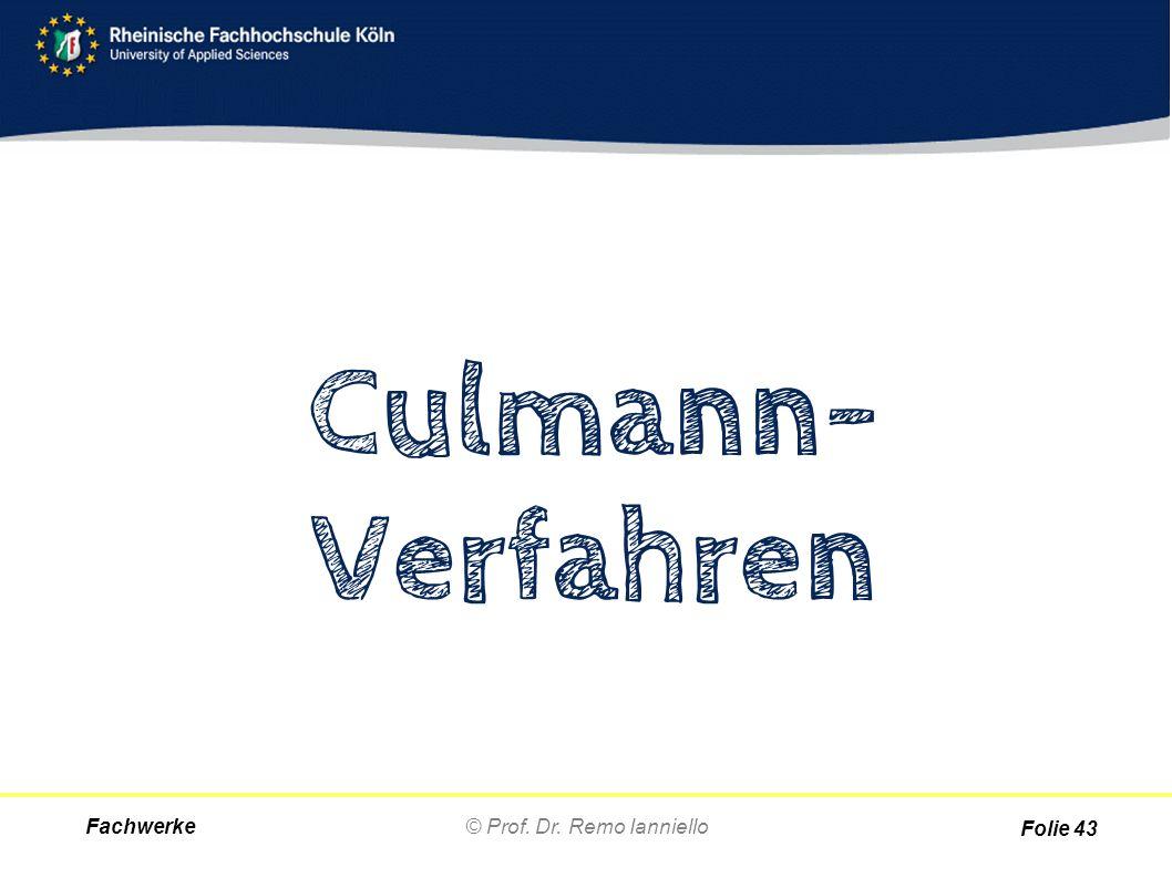 Fachwerke© Prof. Dr. Remo Ianniello Folie 43 Culmann- Verfahren