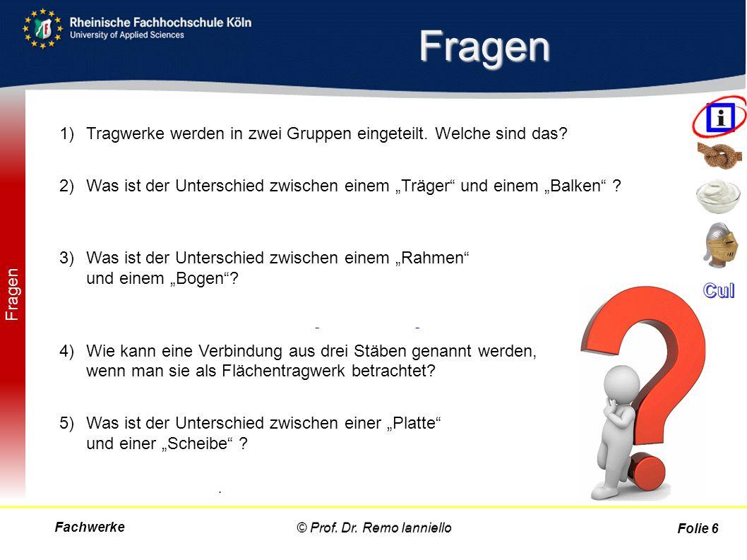 Fachwerke© Prof. Dr. Remo Ianniello Folie 37 Ritter-Schnitt- Verfahren