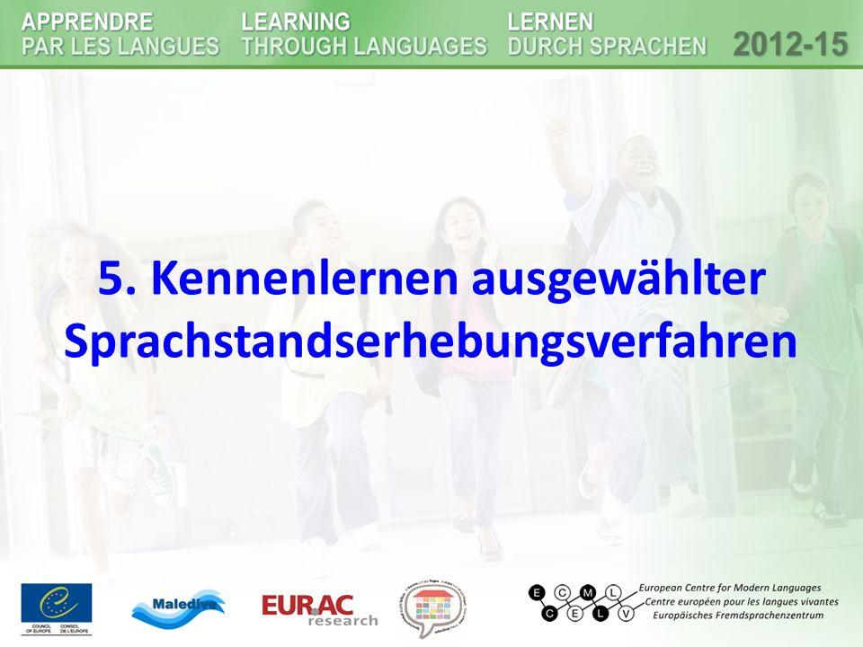 5. Kennenlernen ausgewählter Sprachstandserhebungsverfahren