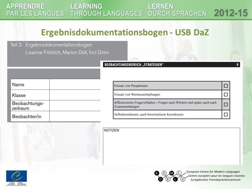Ergebnisdokumentationsbogen - USB DaZ