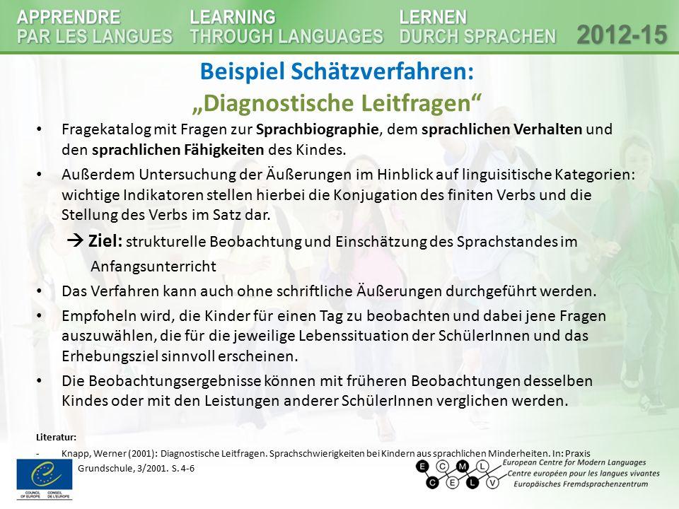 """Beispiel Schätzverfahren: """"Diagnostische Leitfragen"""" Fragekatalog mit Fragen zur Sprachbiographie, dem sprachlichen Verhalten und den sprachlichen Fäh"""
