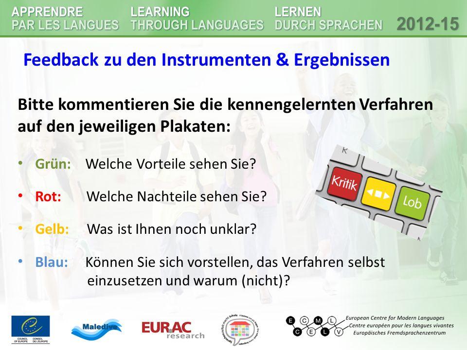 Feedback zu den Instrumenten & Ergebnissen Bitte kommentieren Sie die kennengelernten Verfahren auf den jeweiligen Plakaten: Grün: Welche Vorteile seh