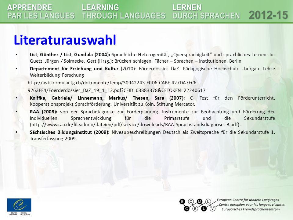"""Literaturauswahl List, Günther / List, Gundula (2004): Sprachliche Heterogenität, """"Quersprachigkeit"""" und sprachliches Lernen. In: Quetz, Jürgen / Solm"""