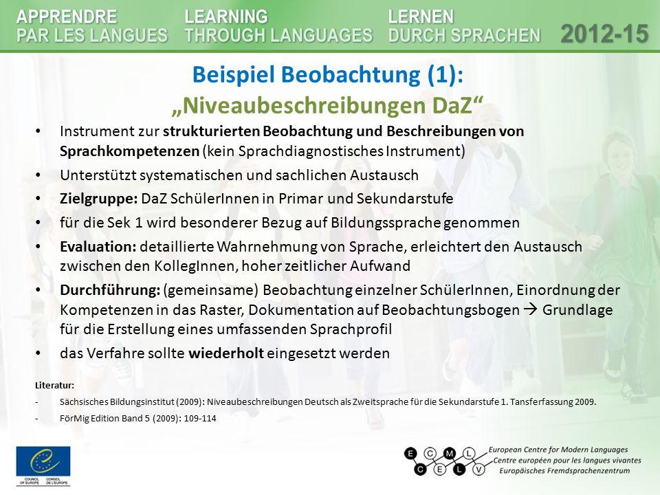 """Beispiel Beobachtung (1): """"Niveaubeschreibungen DaZ"""" Instrument zur strukturierten Beobachtung und Beschreibungen von Sprachkompetenzen (kein Sprachdi"""