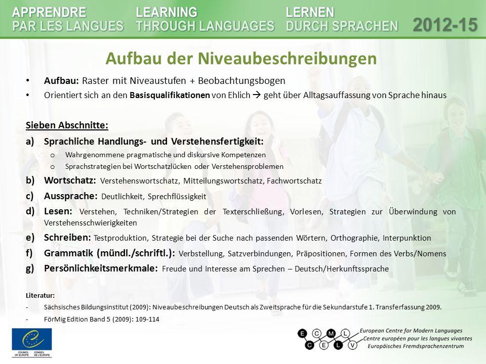 Beispiel - Raster Niveaustufen Literatur: Sächsisches Bildungsinstitut (2009): Niveaubeschreibungen Deutsch als Zweitsprache für die Sekundarstufe 1.