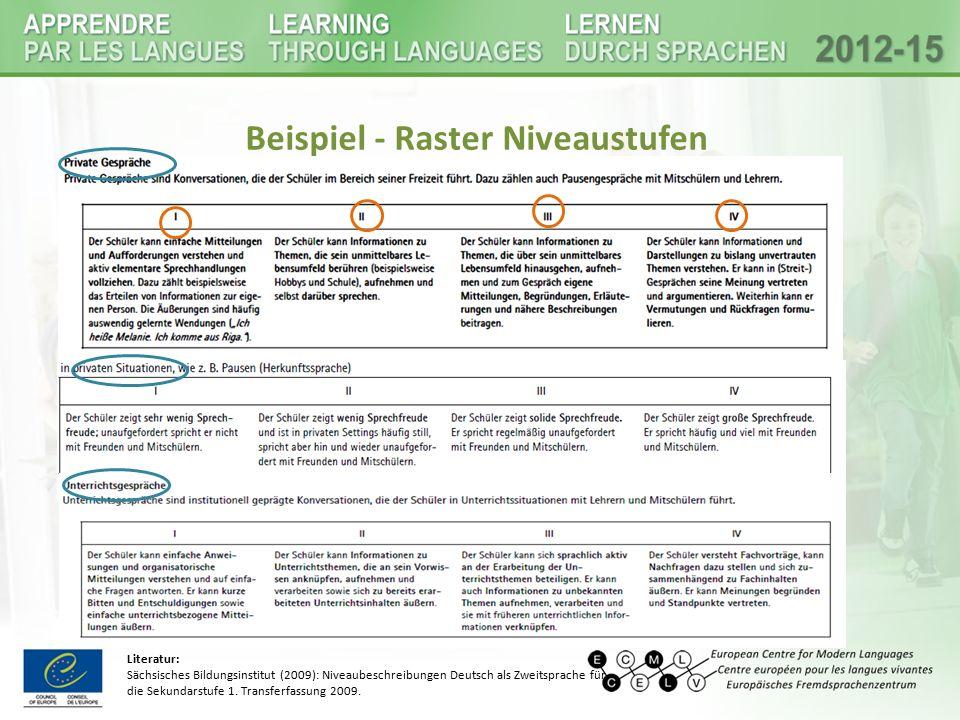 Auszug - Beobachtungsbogen Literatur: Sächsisches Bildungsinstitut (2009): Niveaubeschreibungen Deutsch als Zweitsprache für die Sekundarstufe 1.