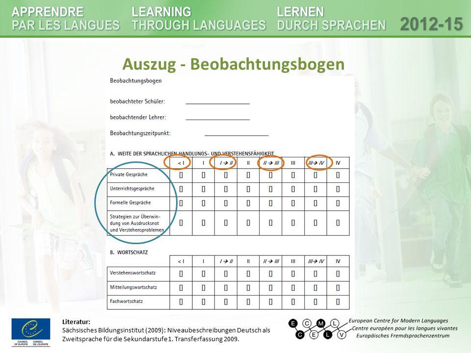 """Beispiel Beobachtung(2): """"Unterrichtsbegleitende Sprachstandserhebung DaZ Instrument zur strukturierten Beobachtung und Beschreibung von Sprachkompetenzen (kein sprachdiagnostisches Instrument) Ziel: Kompetenz und Kompetenzzuwachs unterrichts- und schullaufbahnbegleitend beobachten und beschreiben und individuelle Sprachförderung darauf aufbauen Zielgruppe: DaZ SchülerInnen in Primar und Sekundarstufe (in Österreich) für die Sekundarstufe I wird besonderer Bezug auf Bildungssprache genommen Evaluation: detaillierte Wahrnehmung von Sprache, erleichtert den Austausch zwischen den KollegInnen, Beobachtung in natürlichen Lernsituationen Lehrkräfte brauchen Einarbeitungszeit, hoher zeitlicher Aufwand Durchführung: (gemeinsame) Beobachtung einzelner SchülerInnen, Einordnung der Kompetenzen in das Raster, Dokumentation im Ergebnisdokumentationsbogen  Grundlage für die Erstellung eines umfassenden Sprachprofil das Verfahren sollte wiederholt eingesetzt werden Literatur: - Lisanne Fröhlich, Marion Döll, İnci Dirim (2014): Unterrichtsbegleitende Sprachstandsbeobachtung Deutsch als Zweitsprache."""