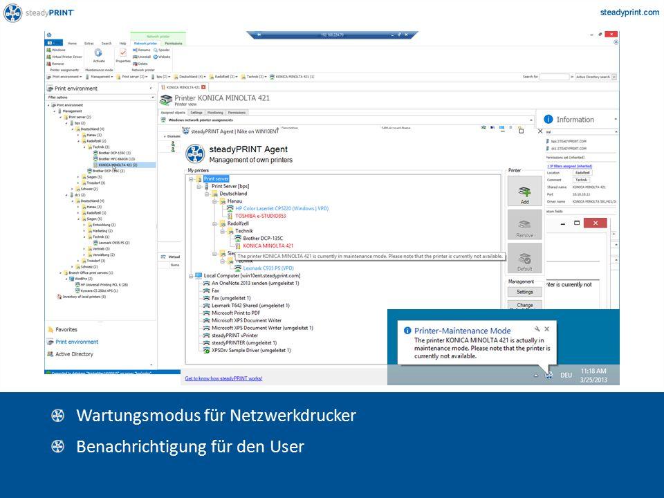 Sp-center-009, 010 Wartungsmodus für Netzwerkdrucker Benachrichtigung für den User