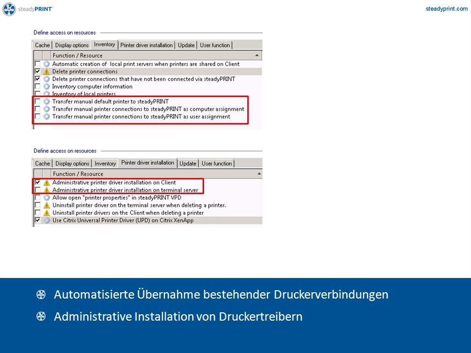 Sp-center-017, 016 Automatisierte Übernahme bestehender Druckerverbindungen Administrative Installation von Druckertreibern
