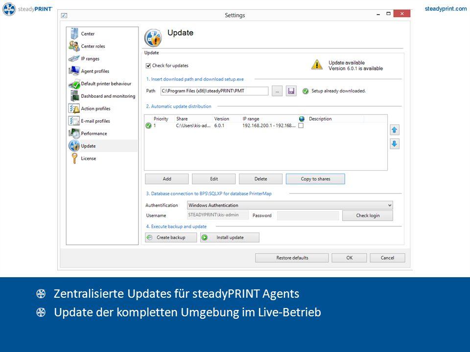 Sp-center-070 Zentralisierte Updates für steadyPRINT Agents Update der kompletten Umgebung im Live-Betrieb