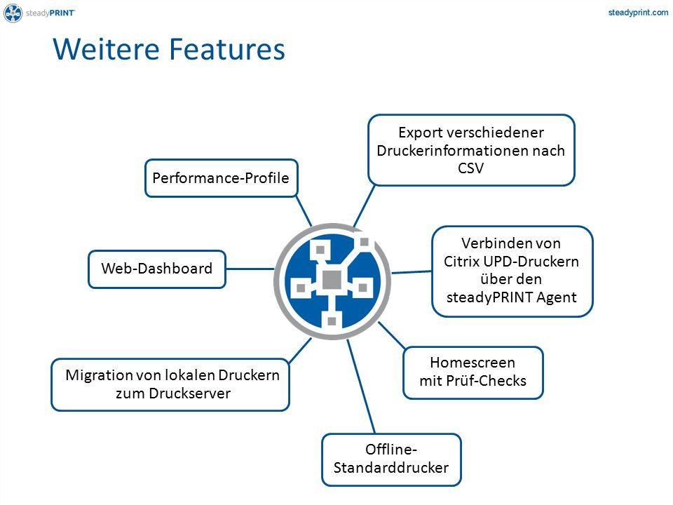 Weitere Features Verbinden von Citrix UPD-Druckern über den steadyPRINT Agent Performance-Profile Export verschiedener Druckerinformationen nach CSV Migration von lokalen Druckern zum Druckserver Homescreen mit Prüf-Checks Web-Dashboard Offline- Standarddrucker