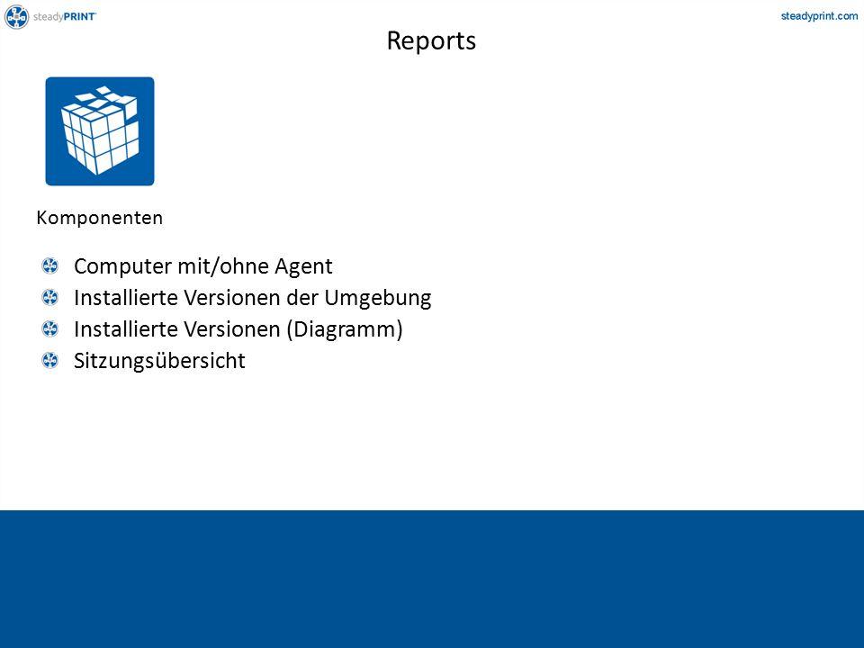 Komponenten Computer mit/ohne Agent Installierte Versionen der Umgebung Installierte Versionen (Diagramm) Sitzungsübersicht Reports