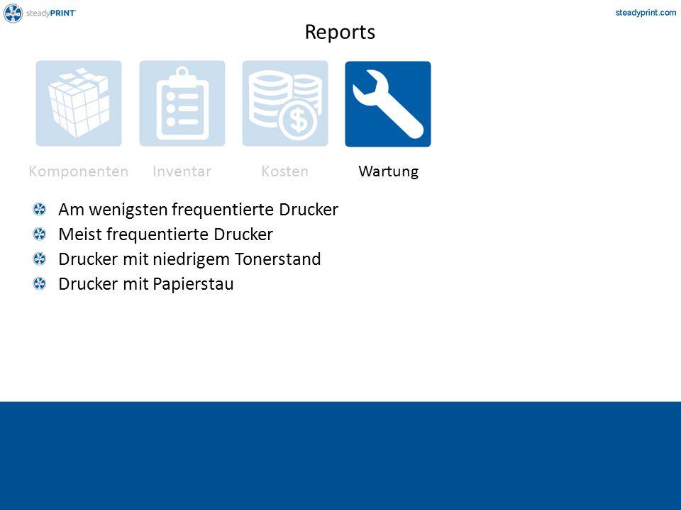 Komponenten InventarKostenWartung Am wenigsten frequentierte Drucker Meist frequentierte Drucker Drucker mit niedrigem Tonerstand Drucker mit Papierstau Reports