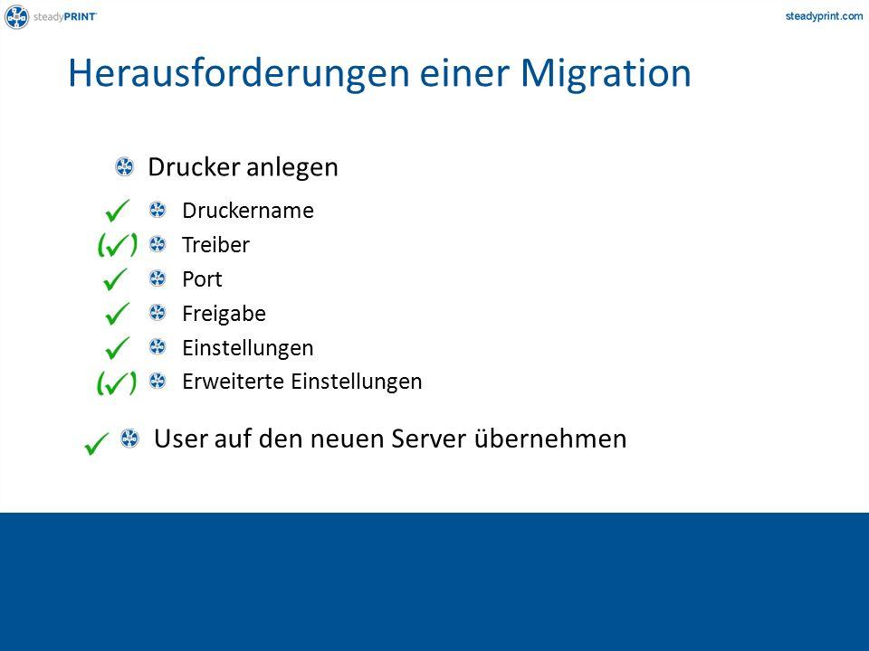 User auf den neuen Server übernehmen Druckername Treiber Port Freigabe Einstellungen Erweiterte Einstellungen Drucker anlegen Herausforderungen einer Migration