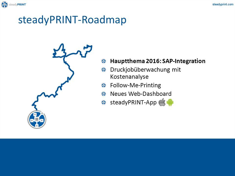Hauptthema 2016: SAP-Integration Druckjobüberwachung mit Kostenanalyse Follow-Me-Printing Neues Web-Dashboard steadyPRINT-App