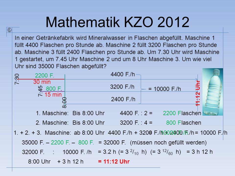 Mathematik KZO 2012 In einer Getränkefabrik wird Mineralwasser in Flaschen abgefüllt. Maschine 1 füllt 4400 Flaschen pro Stunde ab. Maschine 2 füllt 3