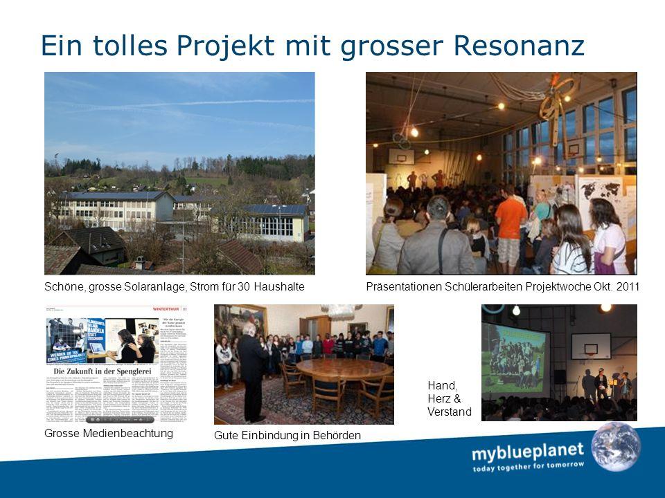 Ein tolles Projekt mit grosser Resonanz Schöne, grosse Solaranlage, Strom für 30 HaushaltePräsentationen Schülerarbeiten Projektwoche Okt.