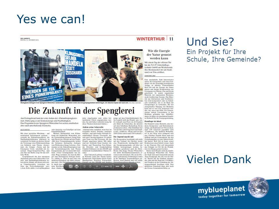 Yes we can! Vielen Dank Und Sie Ein Projekt für Ihre Schule, Ihre Gemeinde