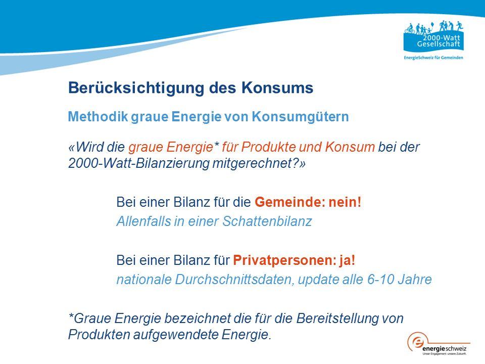 «Wird die graue Energie* für Produkte und Konsum bei der 2000-Watt-Bilanzierung mitgerechnet?» Bei einer Bilanz für die Gemeinde: nein.