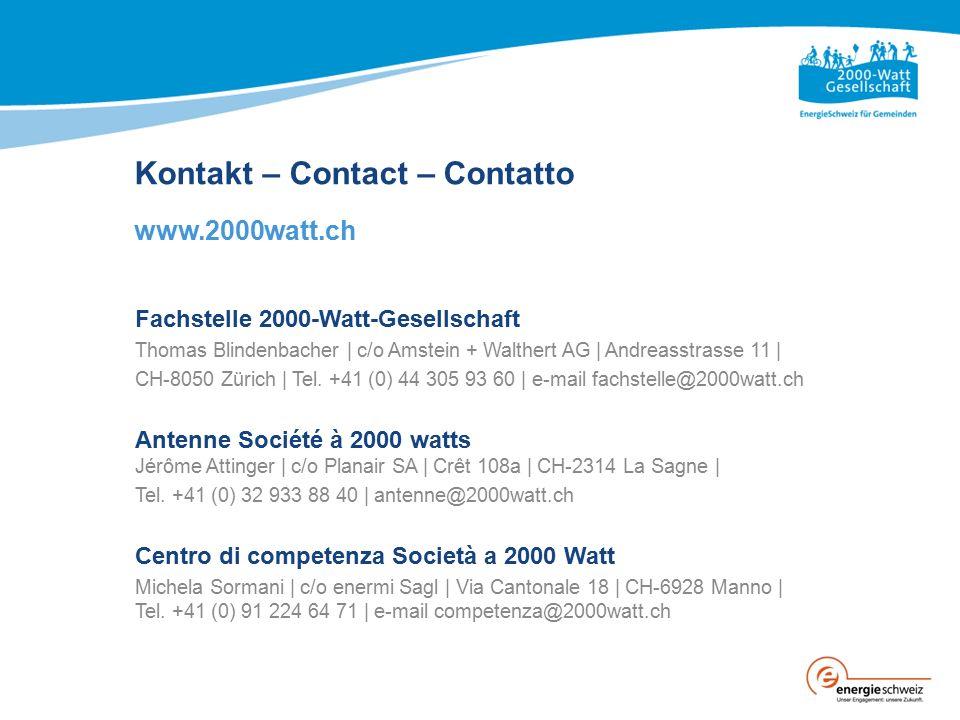 Kontakt – Contact – Contatto www.2000watt.ch Fachstelle 2000-Watt-Gesellschaft Thomas Blindenbacher | c/o Amstein + Walthert AG | Andreasstrasse 11 |
