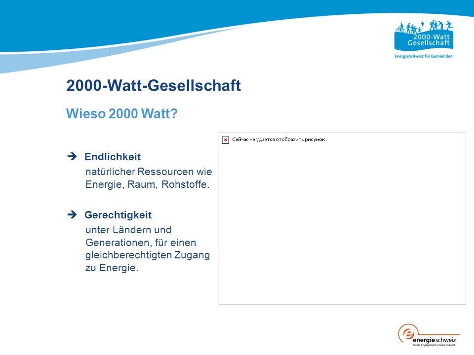 2000-Watt-Gesellschaft Wieso 2000 Watt?  Endlichkeit natürlicher Ressourcen wie Energie, Raum, Rohstoffe.  Gerechtigkeit unter Ländern und Generatio