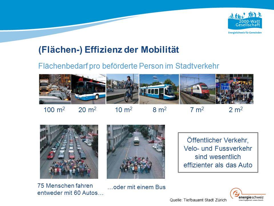 75 Menschen fahren entweder mit 60 Autos… (Flächen-) Effizienz der Mobilität Flächenbedarf pro beförderte Person im Stadtverkehr 100 m 2 20 m 2 10 m 2 8 m 2 7 m 2 2 m 2 …oder mit einem Bus Quelle: Tiefbauamt Stadt Zürich Öffentlicher Verkehr, Velo- und Fussverkehr sind wesentlich effizienter als das Auto