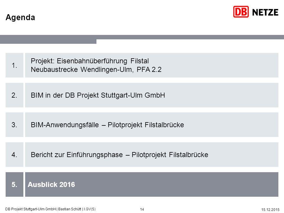 14 15.12.2015 DB Projekt Stuttgart-Ulm GmbH   Bastian Schütt   I.GV(S) 1. 2. 3. 4. 5. Projekt: Eisenbahnüberführung Filstal Neubaustrecke Wendlingen-U