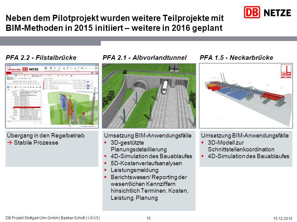 15 15.12.2015 DB Projekt Stuttgart-Ulm GmbH   Bastian Schütt   I.GV(S) Neben dem Pilotprojekt wurden weitere Teilprojekte mit BIM-Methoden in 2015 ini