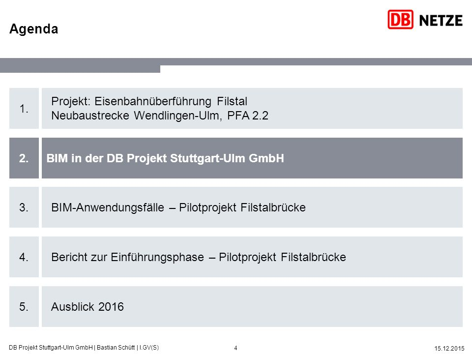 15 15.12.2015 DB Projekt Stuttgart-Ulm GmbH | Bastian Schütt | I.GV(S) Neben dem Pilotprojekt wurden weitere Teilprojekte mit BIM-Methoden in 2015 initiiert – weitere in 2016 geplant Übergang in den Regelbetrieb  Stabile Prozesse PFA 2.2 - FilstalbrückePFA 1.5 - Neckarbrücke Umsetzung BIM-Anwendungsfälle  3D-Modell zur Schnittstellenkoordination  4D-Simulation des Bauablaufes PFA 2.1 - Albvorlandtunnel Umsetzung BIM-Anwendungsfälle  3D-gestützte Planungsdetaillierung  4D-Simulation des Bauablaufes  5D-Kostenverlaufsanalysen  Leistungsmeldung  Berichtswesen/ Reporting der wesentlichen Kennziffern hinsichtlich Terminen, Kosten, Leistung, Planung