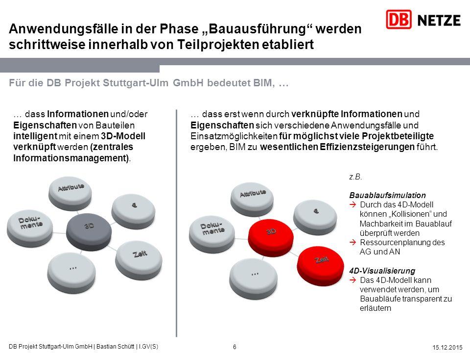 """6 15.12.2015 DB Projekt Stuttgart-Ulm GmbH   Bastian Schütt   I.GV(S) Anwendungsfälle in der Phase """"Bauausführung"""" werden schrittweise innerhalb von T"""