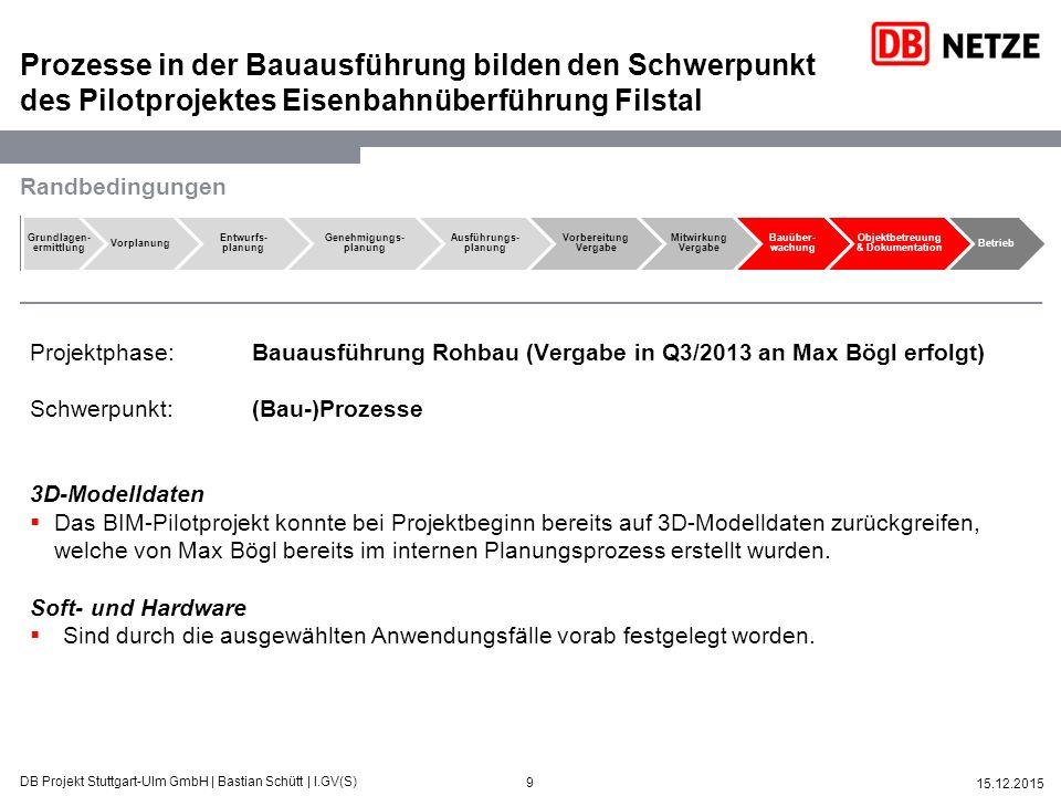 9 15.12.2015 DB Projekt Stuttgart-Ulm GmbH   Bastian Schütt   I.GV(S) Prozesse in der Bauausführung bilden den Schwerpunkt des Pilotprojektes Eisenbah