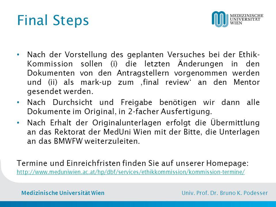Medizinische Universität Wien Univ. Prof. Dr. Bruno K. Podesser Final Steps Nach der Vorstellung des geplanten Versuches bei der Ethik- Kommission sol