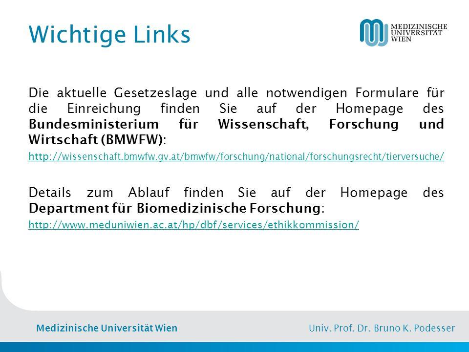 Medizinische Universität Wien Univ. Prof. Dr. Bruno K. Podesser Wichtige Links Die aktuelle Gesetzeslage und alle notwendigen Formulare für die Einrei