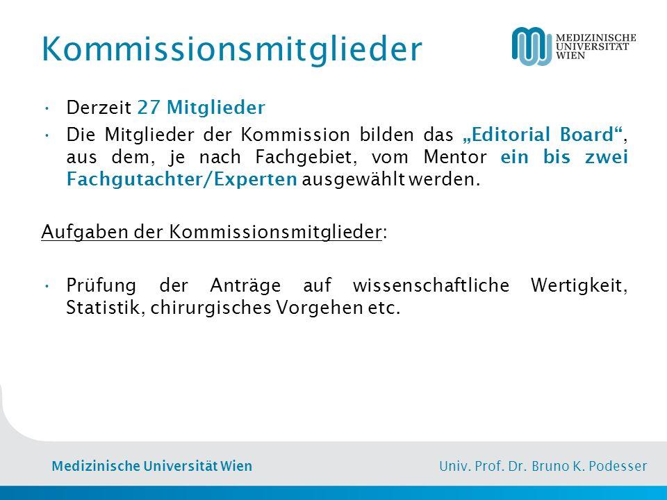 """Medizinische Universität Wien Univ. Prof. Dr. Bruno K. Podesser Kommissionsmitglieder Derzeit 27 Mitglieder Die Mitglieder der Kommission bilden das """""""