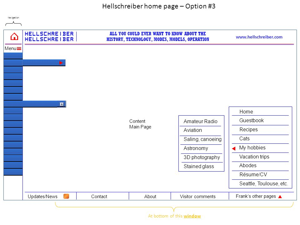 Navigation Content Main Page www.hellschreiber.com ALL YOU COULD EVER WANT TO KNOW ABOUT THE HISTORY, TECHNOLOGY, MODES, MODELS, OPERATION Hellschreiber home page – Option #3 ContactAboutUpdates/NewsVisitor comments Frank's other pages Menu At bottom of this window Home Guestbook Recipes Cats My hobbies Vacation trips Abodes Résume/CV Seattle, Toulouse, etc.