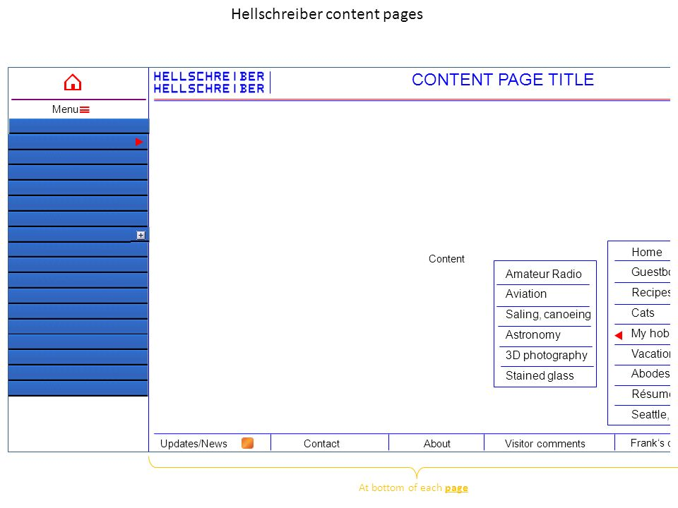 Content Hellschreiber content pages ContactAboutUpdates/NewsVisitor comments Frank's other pages Menu CONTENT PAGE TITLE Home Guestbook Recipes Cats My hobbies Vacation trips Abodes Résume/CV Seattle, Toulouse, etc.