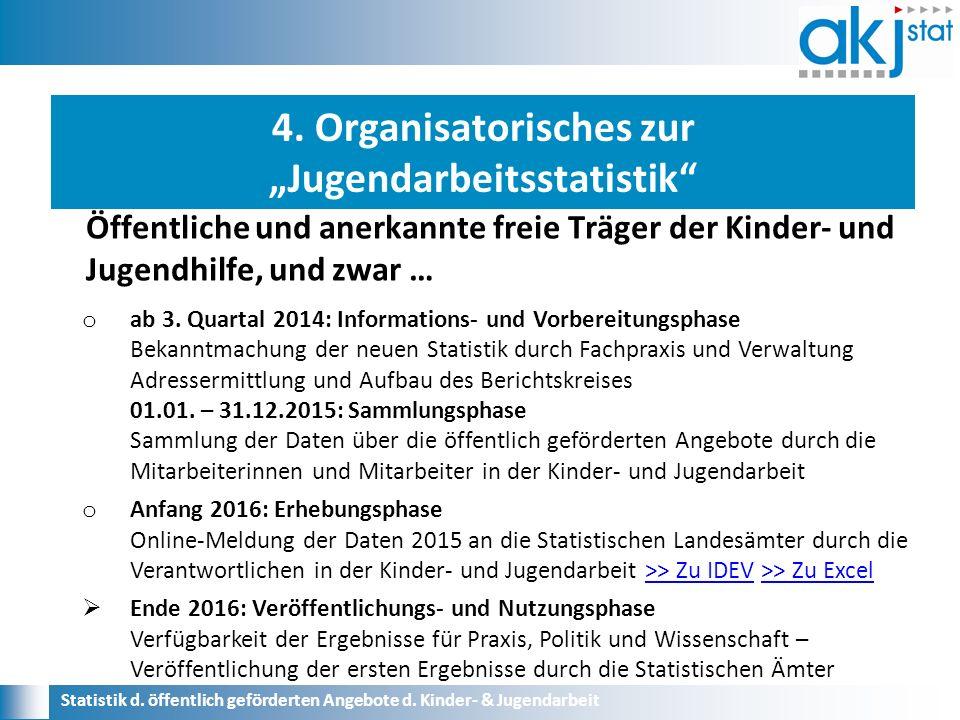 Statistik d. öffentlich geförderten Angebote d. Kinder- & Jugendarbeit o ab 3.