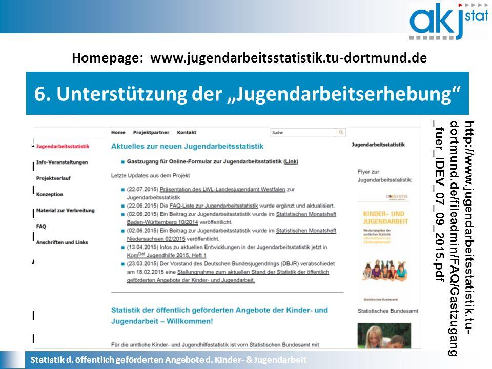 Homepage: www.jugendarbeitsstatistik.tu-dortmund.de Jugendarbeitsstatistik Info-Veranstaltungen Projektverlauf Konzeption Material zur Verbreitung Anschriften und Links Links Kontakt Statistik d.