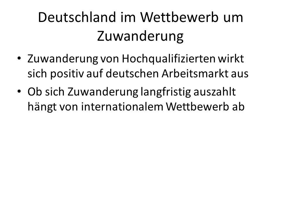 Deutschland im Wettbewerb um Zuwanderung Zuwanderung von Hochqualifizierten wirkt sich positiv auf deutschen Arbeitsmarkt aus Ob sich Zuwanderung lang