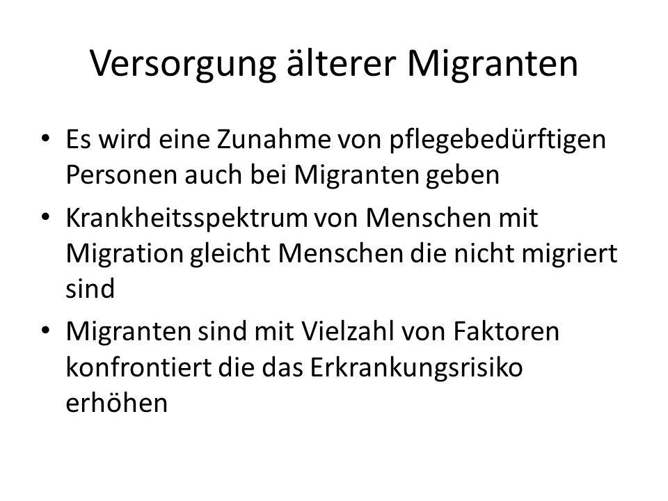 Versorgung älterer Migranten Es wird eine Zunahme von pflegebedürftigen Personen auch bei Migranten geben Krankheitsspektrum von Menschen mit Migratio