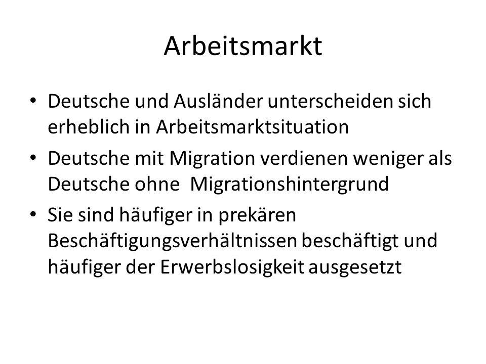 Arbeitsmarkt Deutsche und Ausländer unterscheiden sich erheblich in Arbeitsmarktsituation Deutsche mit Migration verdienen weniger als Deutsche ohne M