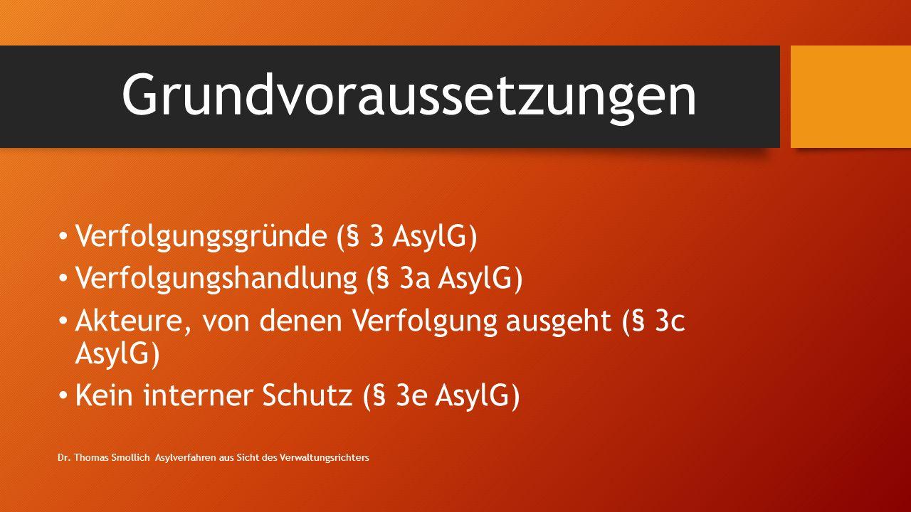 Grundvoraussetzungen Verfolgungsgründe (§ 3 AsylG) Verfolgungshandlung (§ 3a AsylG) Akteure, von denen Verfolgung ausgeht (§ 3c AsylG) Kein interner Schutz (§ 3e AsylG) Dr.