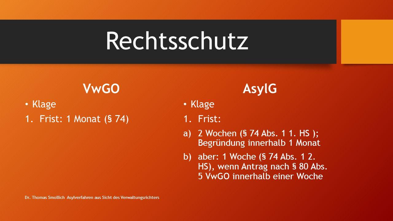Rechtsschutz VwGO Klage 1.Frist: 1 Monat (§ 74) AsylG Klage 1.Frist: a)2 Wochen (§ 74 Abs.