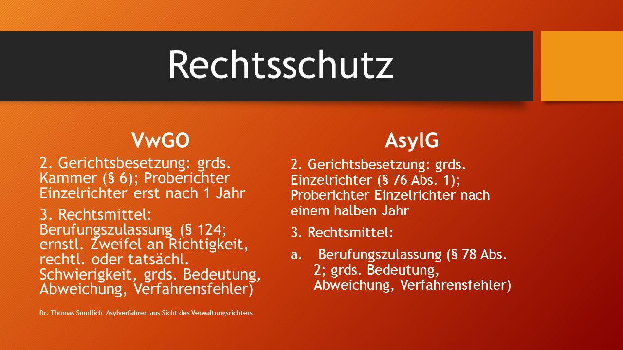 Rechtsschutz VwGO 2.Gerichtsbesetzung: grds.