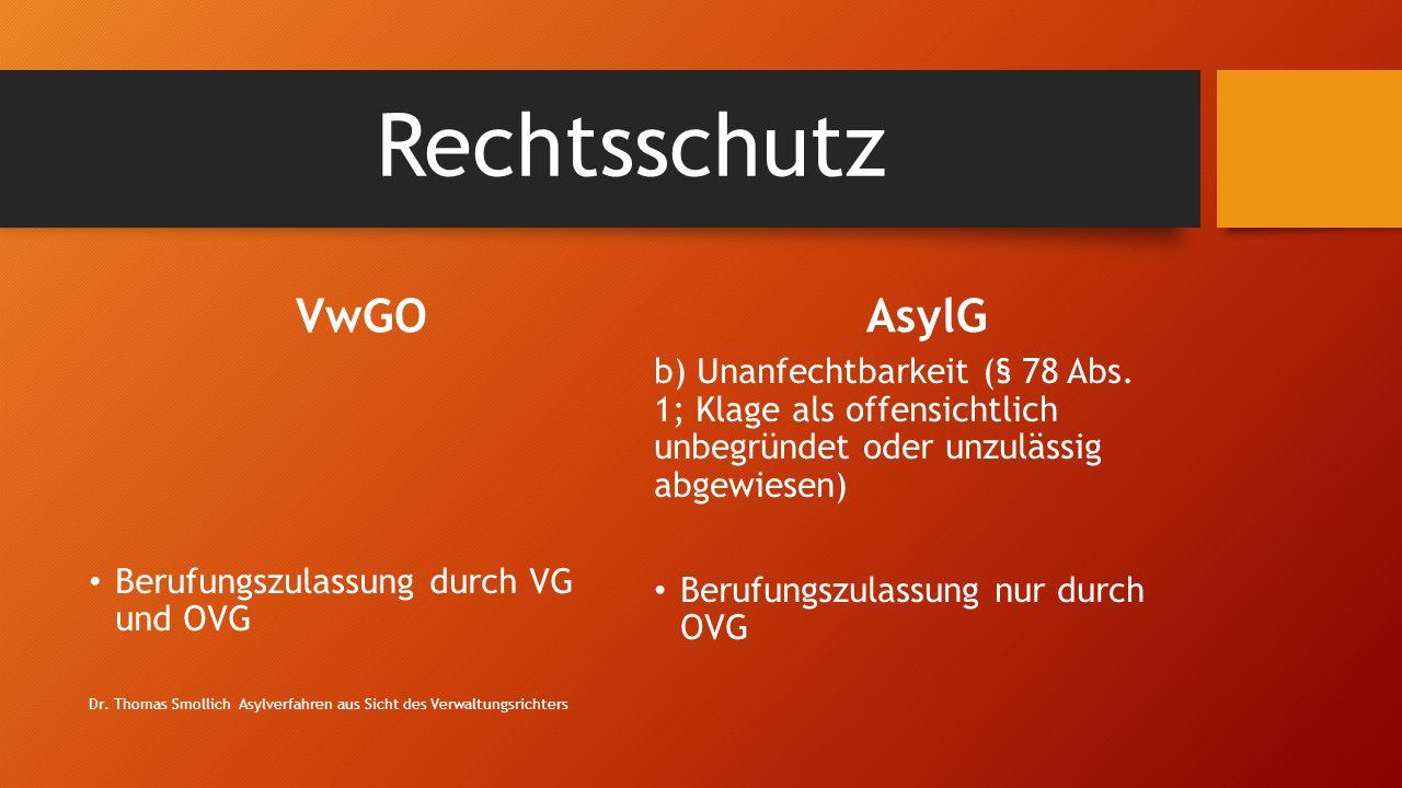 Rechtsschutz VwGO Berufungszulassung durch VG und OVG AsylG b) Unanfechtbarkeit (§ 78 Abs.