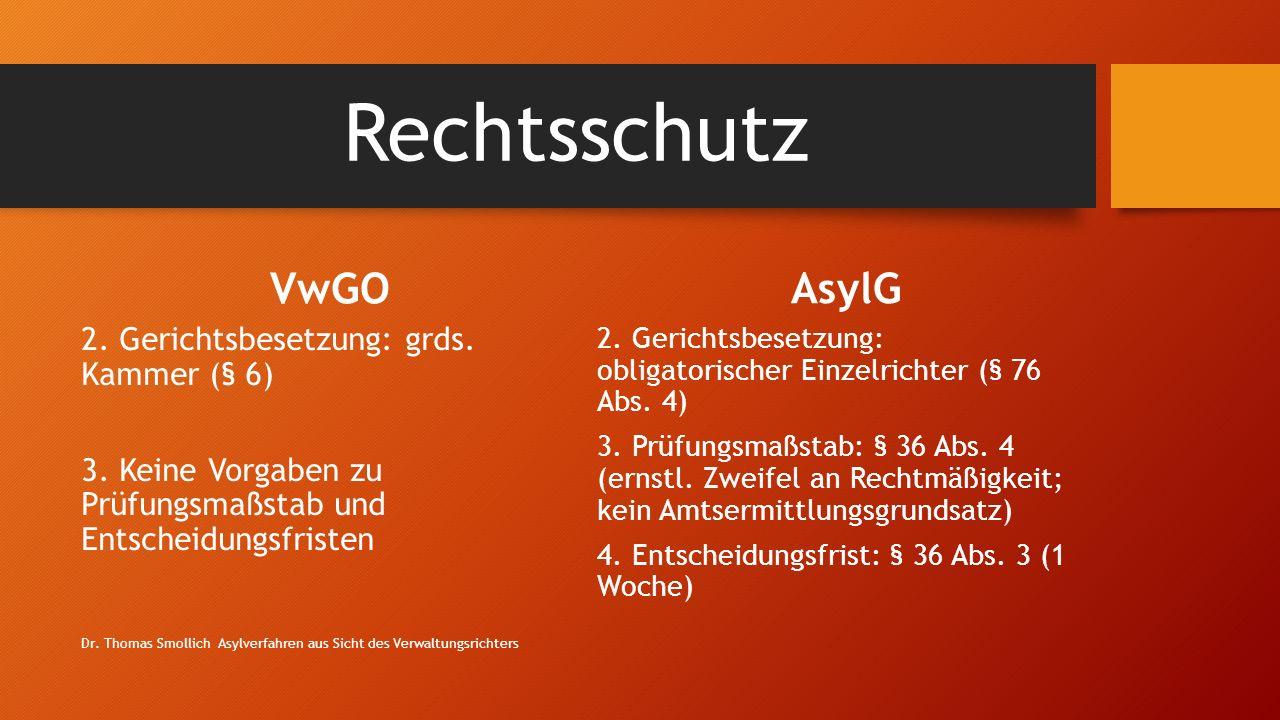 Rechtsschutz VwGO 2.Gerichtsbesetzung: grds. Kammer (§ 6) 3.
